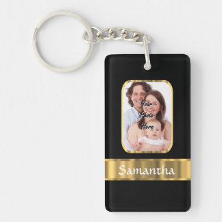 Black and gold photo template keychain