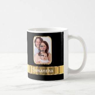 Black and gold photo template classic white coffee mug