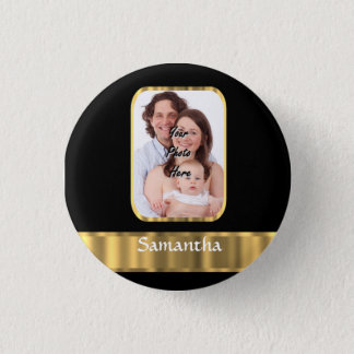 Black and gold photo template pinback button