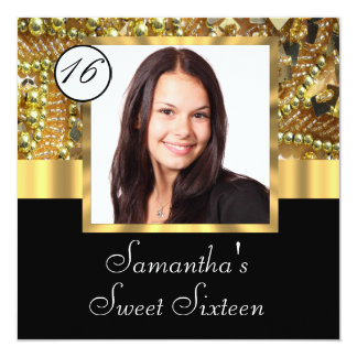Black and gold photo template sweet sixteen