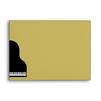 Black and Gold Piano Wedding Envelope