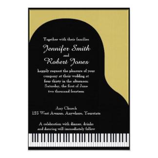 """Black and Gold Piano Wedding Invitation 5"""" X 7"""" Invitation Card"""