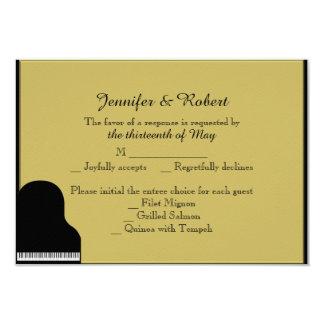 "Black and Gold Piano Wedding Response Card 3.5"" X 5"" Invitation Card"