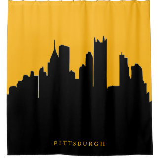 Black and Gold Pittsburgh City Skyline View Shower Curtain
