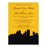 Black and Gold Pittsburgh City Skyline Wedding II Card