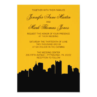 Black and Gold Pittsburgh City Skyline Wedding II Card