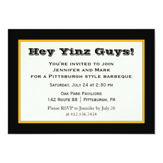Black and Gold Pittsburgh Style Yinz Party 5x7 Paper Invitation Card