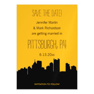 Black and Gold Pittsburgh Wedding Save the Date Magnetic Card