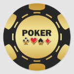 BLACK AND GOLD POKER CHIP CLASSIC ROUND STICKER