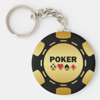 BLACK AND GOLD POKER CHIP KEYCHAIN