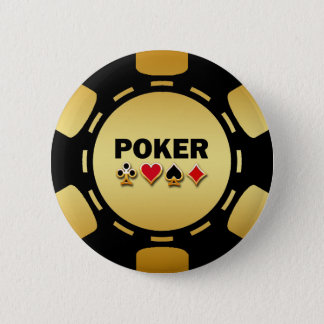 BLACK AND GOLD POKER CHIP PINBACK BUTTON
