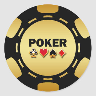 BLACK AND GOLD POKER CHIP STICKERS