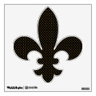 Black and Gold Polka Dots Fleur de Lis Wall Decal