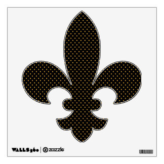 Black and Gold Polka Dots Fleur de Lis Wall Decal