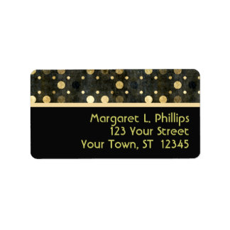 Black and Gold Polka Dots Label Personalized Address Labels