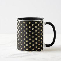 Black and Gold Polka-Dots Pattern Mug