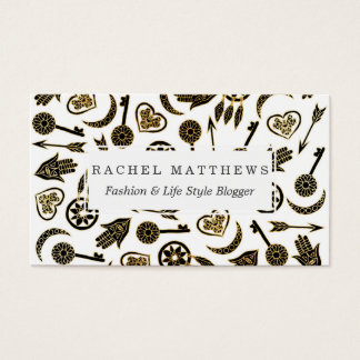 Black and Gold Popular Symbols on White Business Card