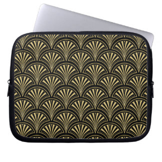 Black and Gold Posh Deco Fan Pattern Computer Sleeve