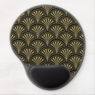 Black and Gold Posh Deco Fan Pattern Gel Mouse Pad