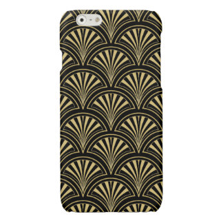 Black and Gold Posh Deco Fan Pattern Glossy iPhone 6 Case