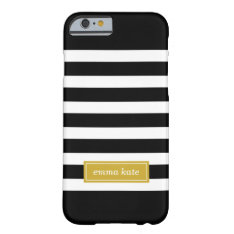 Black And Gold Preppy Stripes Monogram Barely There Iphone 6 Case at Zazzle