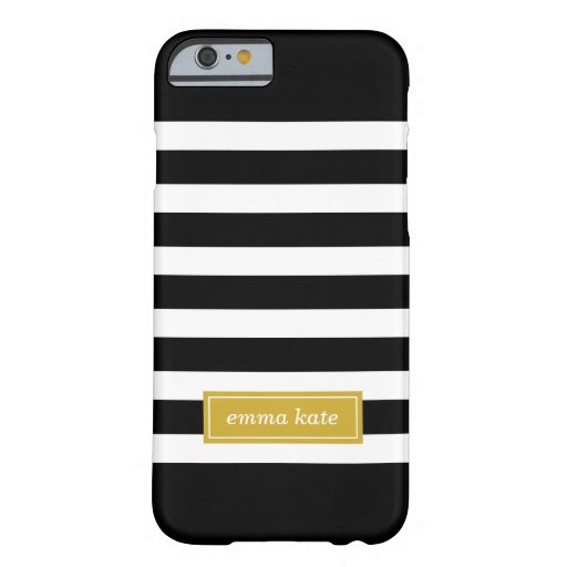 Black and Gold Preppy Stripes Monogram Barely There Iphone 6 Case
