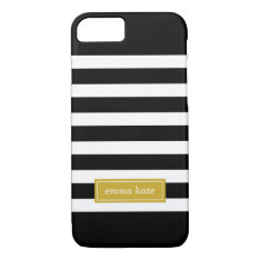 Black And Gold Preppy Stripes Monogram Iphone 7 Case at Zazzle