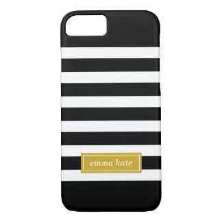 Black and Gold Preppy Stripes Monogram iPhone 7 Case