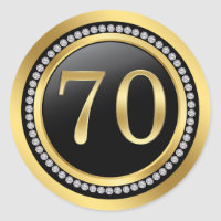 Black and gold, printed diamonds 70th Birthday Classic Round Sticker