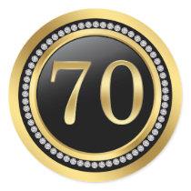 Black and gold, printed diamonds 70th Birthday Classic Round Sticker