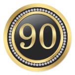 Black and gold, printed diamonds 90th Birthday Classic Round Sticker
