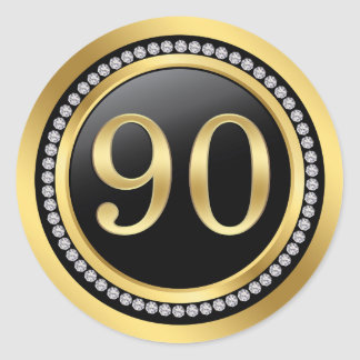 Black and gold, printed diamonds 90th Birthday Classic Round Sticker