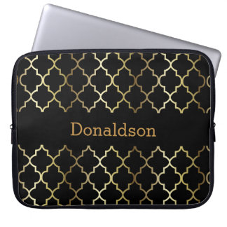 Black and Gold Quatrefoil Computer Sleeve