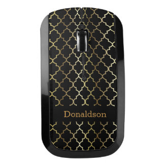 Black and Gold Quatrefoil Wireless Mouse