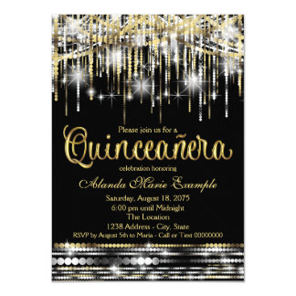 Black and Gold Quinceanera Glitter Glam Sparkle Card