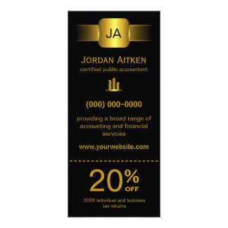 Black and Gold Rack Cards with Discount Coupon