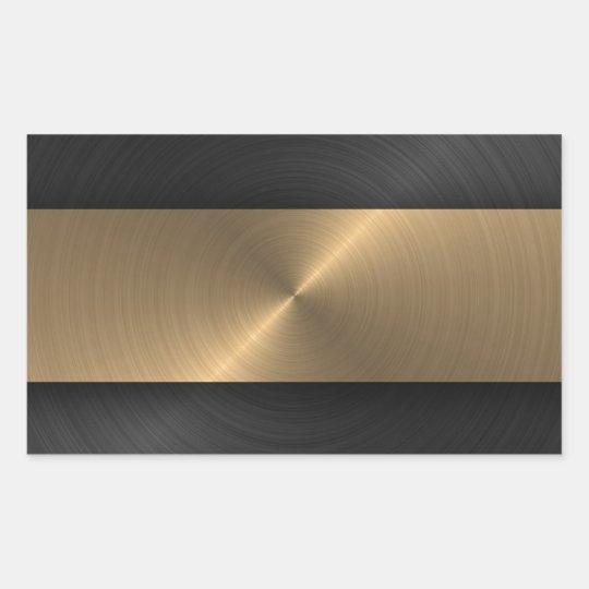 Black And Gold Rectangular Sticker