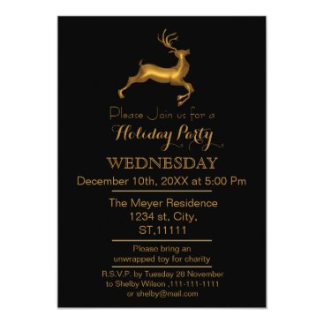 Professional Business Black and Gold Reindeer holiday party Invitation