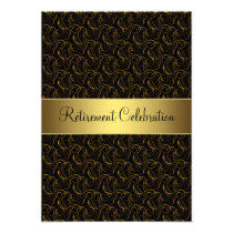 Black and Gold Retirement Party Card