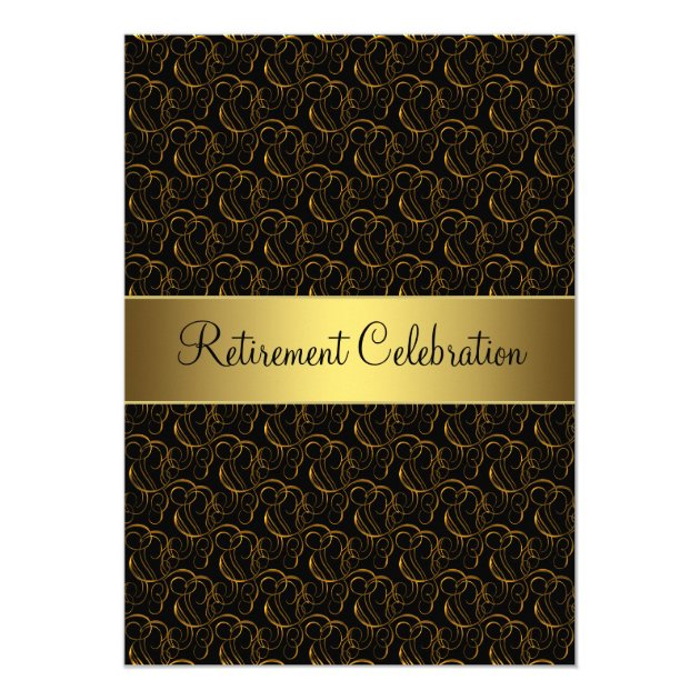 Black and Gold Retirement Party Card | Zazzle.com