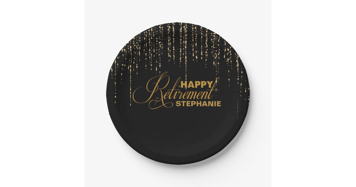 Black And Gold Retirement Party Plates Zazzle Com