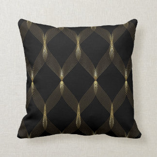 Black and Gold Ribbon Throw Pillow