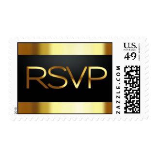 Black and Gold RSVP Postage