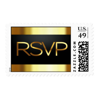 Black and Gold RSVP Postage Stamp