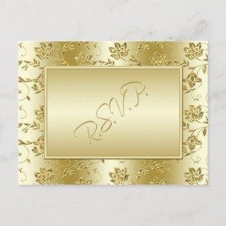 Black and Gold RSVP POstcard postcard