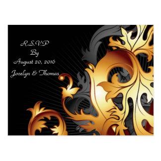 Black and Gold RSVP Postcard
