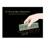 Black and Gold Salon Reminder Vintage Comb Curls Post Cards