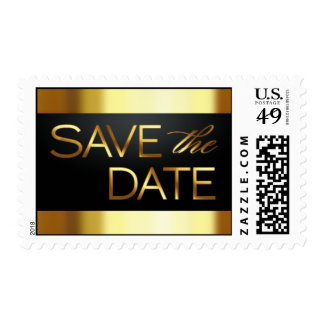 Black and Gold Save the Date Postage