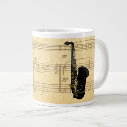 Black and Gold Saxophones on Old Sheet Music Jumbo Large Coffee Mug