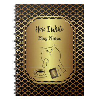 Black and Gold Scallop Blog Writing Notebook